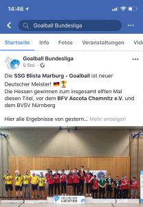 Facebookseite Goalball Bundesliga Meister Marburg