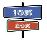 Schild mit Prozentsymbolen